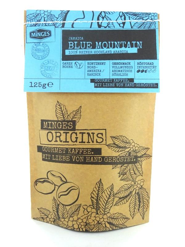 Minges Jamaica Blue Mountain, Arabica Kaffee, ganze Bohnen,  Aromapack 125g